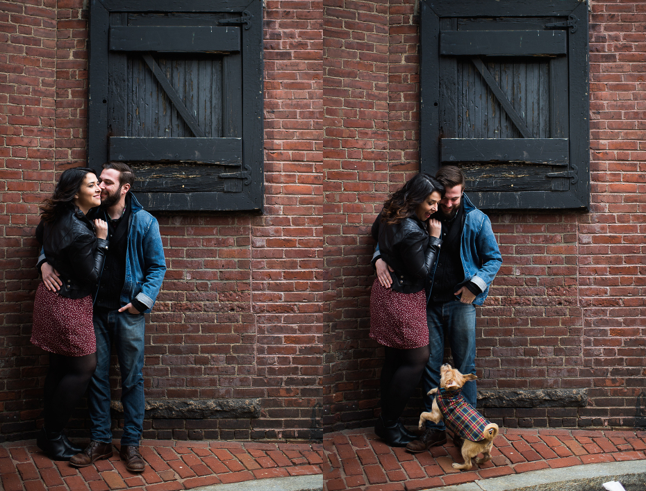 A couple getting married at the Fairmont Copley in Boston shooting their engagement session in Back Bay.