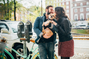 A couple from new york city shooting their engagement session in Boston's Back Bay.