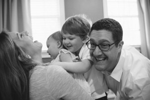 A family is Boston is photographed for one of their children's first birthdays.