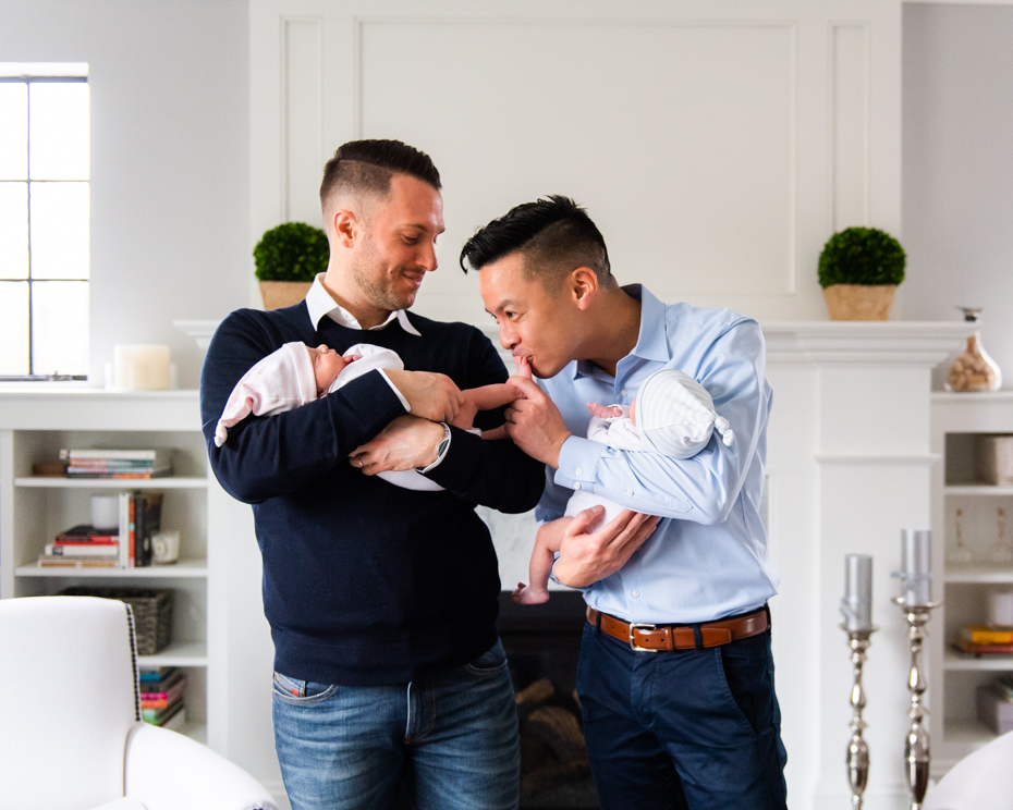 Two gay dads become parents in Boston.